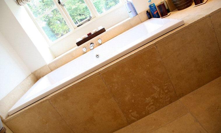 limestone tiles bath panel