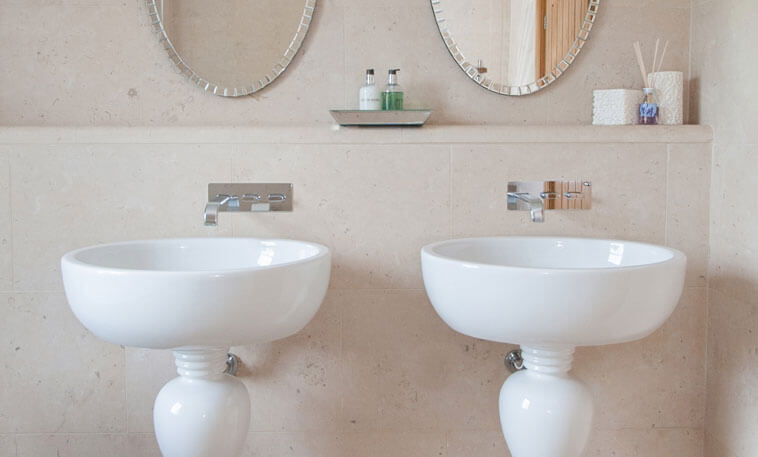 twin sinks stamford limestone tiles