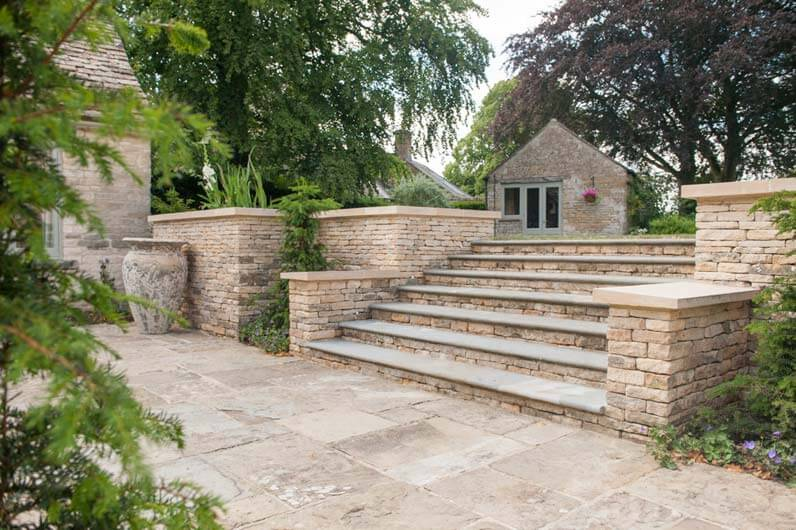 exterior limestone paving