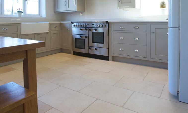 pale limestone kitchen floor