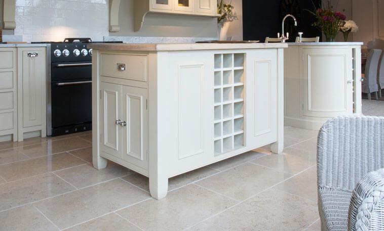 white shaker kitchen limestone floor