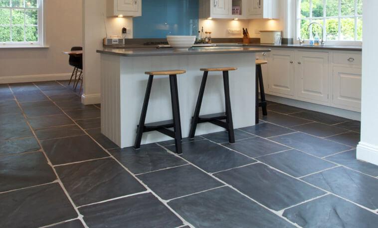 dark limestone kitchen flooring
