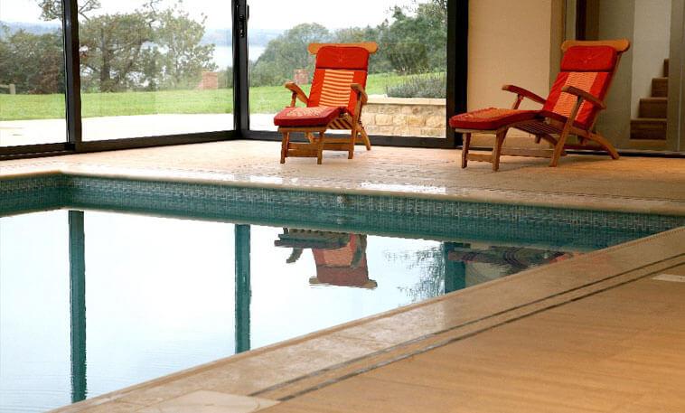 classic pool area limestone flooring