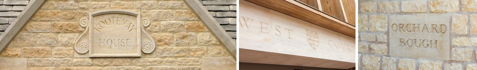 limestone name date stones banner
