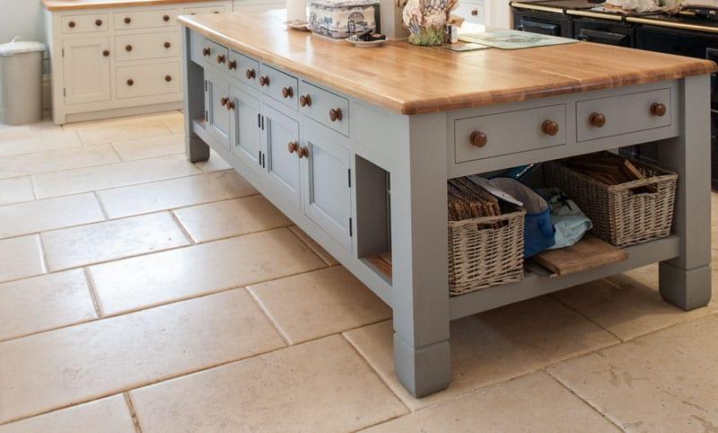 walcott aged limestone flooring kitchen