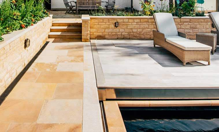 outside pool area limestone paving