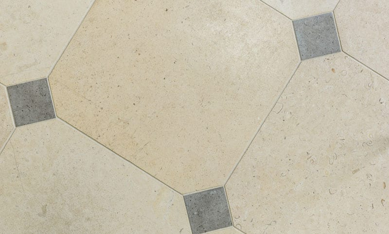 Walcott limestone flooring octagonal
