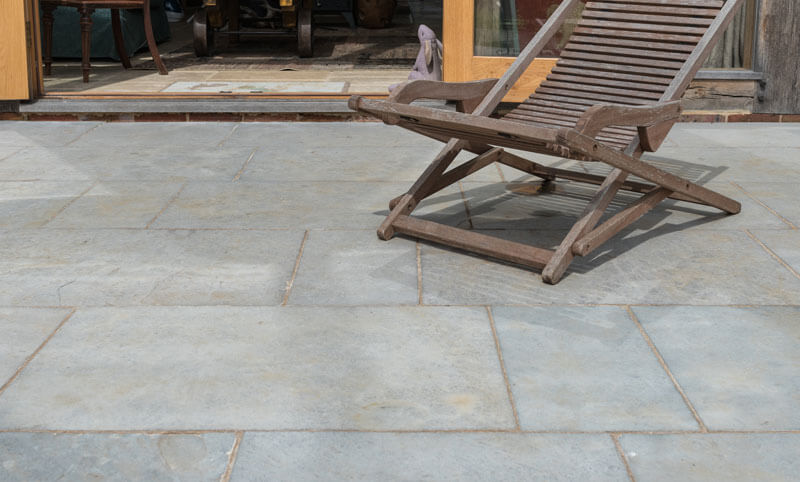 heritage ash limestone patio close-up