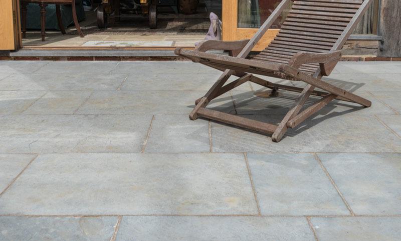 heritage ash limestone patio close-up